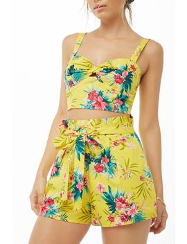 Floral Print Pleated Paperbag Shorts by Forever 21