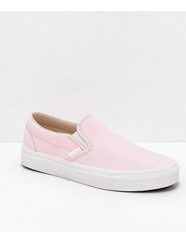 Vans Slip On Heavenly Pink &Amp; White Vansbuck Skate Shoes by Vans