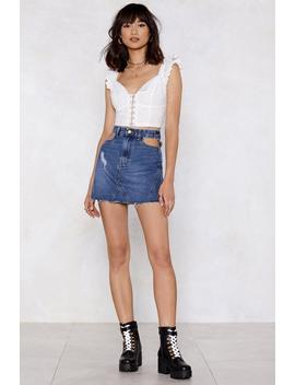 Pocket Down Distressed Denim Skirt by Nasty Gal