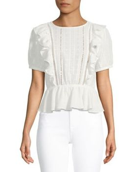 Ruffled Lace Cotton Top by English Factory