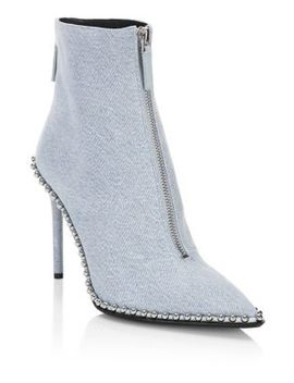 Eri Studded Denim Booties by Alexander Wang