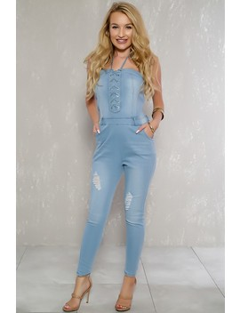 Sexy Light Denim Halter Distressed Lace Up Accent Dressy Jumpsuit by Ami Clubwear