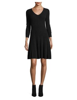 Ribbed Fit & Flare Cashmere Sweaterdress by Neiman Marcus Cashmere Collection