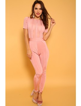 Sexy Dusty Pink Short Sleeve Sheer Panel Dressy Jumpsuit by Ami Clubwear