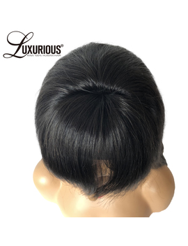 Glueless Lace Front Human Hair Wigs With Bangs Straight Indian Remy Hair Wig For Women 8 24 Inch Natural Color Bleached Knots by Luxurious
