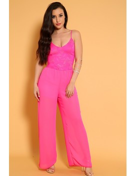 Sexy Pink Embroidered Crochet Sheer Casual Jumpsuit by Ami Clubwear
