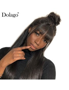 360 Lace Frontal Wig With Bang Straight Lace Front Human Hair Wigs For Women Pre Plucked With Baby Hair Black Dolago Remy by Dolago