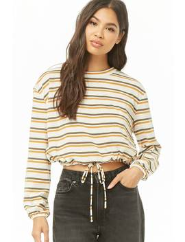 Striped Drawstring Hem Top by Forever 21