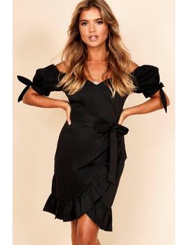 Ruffle Detail Bardot Mini Wrap Dress by Boohoo