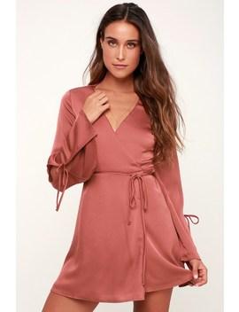 Refined Finesse Rusty Rose Long Sleeve Wrap Dress by Lulus