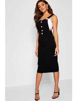 Zarah Button Front Midi Pinafore Dress by Boohoo