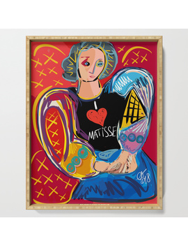 """Portrait Of A Girl With A Shirt """"I Love Matisse"""" Serving Tray by"""