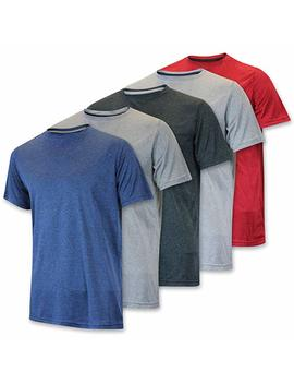 Real Essentials Men's Dry Fit Solid Crew Neck Short Sleeve Active T Shirt Top   5 Pack by Real Essentials