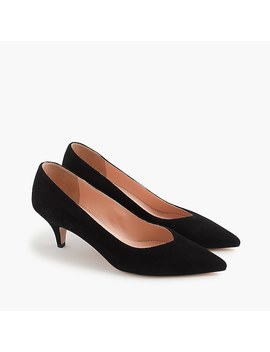 Dulci V Cut Kitten Heels In Suede by J.Crew