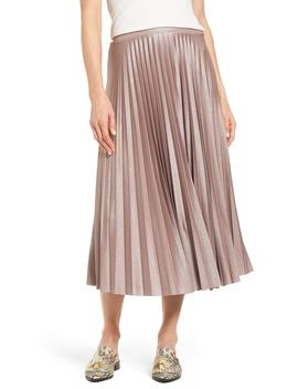 Metallic Pleat Midi Skirt by Nordstrom