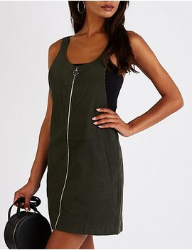 Zip Up Overall Shift Dress by Charlotte Russe