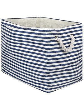 "Dii Oversize Woven Paper Storage Basket Or Bin, Collapsible & Convenient Home Organization Solution For Office, Bedroom, Closet, Toys, & Laundry (Medium   15x10x12""), Nautical Blue Pin Stripe by Dii"