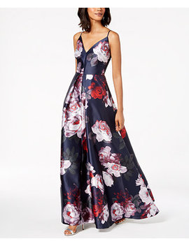 Floral Print Plunge Gown by Calvin Klein