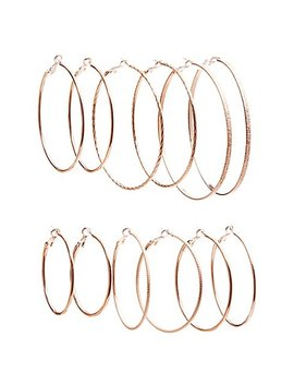 Textured Hoop Earrings   5 Pack by Charlotte Russe