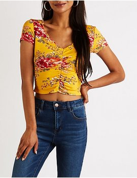 Floral Ruched Crop Top by Charlotte Russe