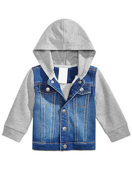 Baby Boys Layered Look Hooded Denim Bomber Jacket, Created For Macy's by First Impressions
