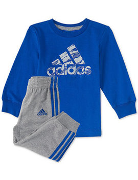Baby Boys 2 Pc. Logo Graphic Cotton Shirt & Joggers Set by Adidas