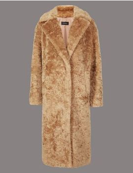 Single Breasted Longline Faux Fur Coat by Tracked Express Delivery: