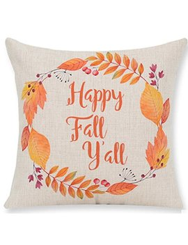 Pumpkin Maple Leaf Wreath Happy Fall Vintage Letters Happy Thanksgiving Halloween New Home Room Sofa Car Decorative Cotton Linen Throw Pillow Case Cushion Cover Square 18 X 18 Inches by Andreannie