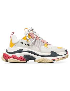 Balenciagawhite, Pink And Yellow Triple S Leather Sneakershome Women Balenciaga Shoes Sneakers by Balenciaga