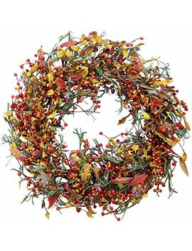 Appalachia Berry Silk Fall Door Wreath 22 Inch   Autumn Berries And Foliage Enhance Home Decor, Approved For Covered Outdoor Use, Beautiful White Gift Box Included by The Wreath Depot