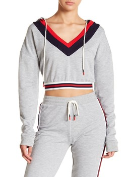 Striped V Neck Cropped Hoodie by On Twelfth
