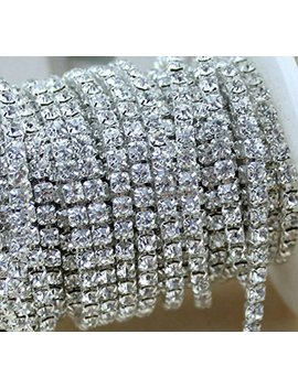 Aketek Crystal Rhinestone Close Chain Clear Trim 10 Yard Sewing Craft, 4mm   Silver Color by Aketek
