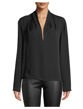 Draped Neck Long Sleeve Silk Blouse by Vince