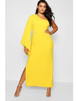 Plus One Shoulder Flare Sleeve Maxi Dress by Boohoo