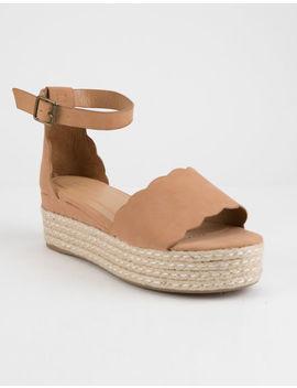 Bamboo Scallop Espadrille Tan Womens Platform Sandals by Bamboo