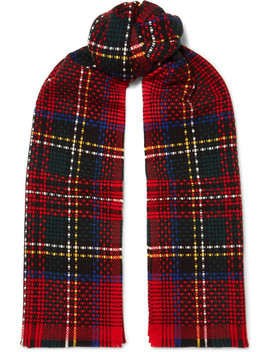 Tartan Basketweave Cashmere Scarf by Johnstons Of Elgin