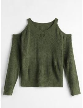 Solid Color Sweater With Cold Shoulder   Army Green by Zaful