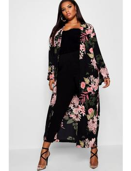 Plus Floral Longline Duster Jacket by Boohoo