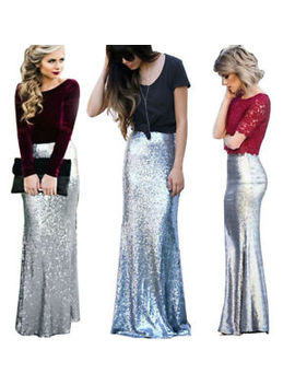 Fashion Female Sequins Silver Skirt Women Fishtail Skirt Nightclub Step Skirt by Unbranded