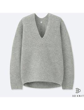 Damen 3 D Premium Lammwollpullover (Kokon Silhouette) by Uniqlo