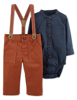 Baby Boys 2 Pc. Woven Cotton Bodysuit & Suspender Pants Set by Carter's