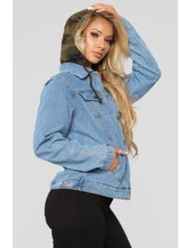 Camo Around Hooded Denim Jacket   Blue/Olive Camo by Fashion Nova