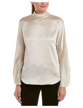 Vince Mock Neck Silk Blouse by Vince