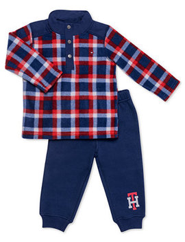 Baby Boys 2 Pc. Fleece Top & Jogger Pants Set by Tommy Hilfiger