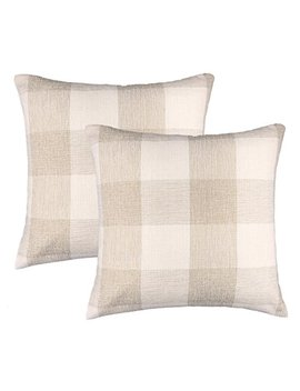 4 Th Emotion Farmhouse Decoration Beige White Checkers Plaids Linen Square Throw Pillow Case Decorative Cushion Cover Pillowcase Cushion Case For Sofa 18 X 18 Inch, Set Of 2 by 4 Th Emotion