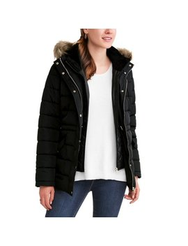 Time And Tru Women's Heavyweight Puffer Coat With Faux Fur Trim Hood by Time And Tru