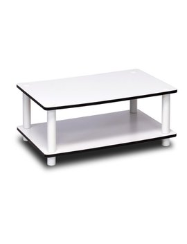 Furinno 11172 Just 2 Tier No Tools Coffee Table, White W/White Tube by Furinno