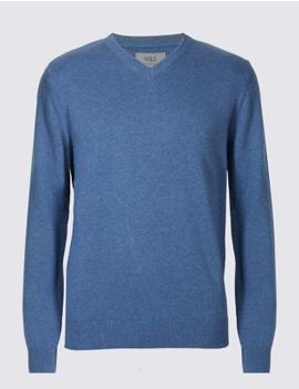 Pure Cotton V Neck Jumper by Marks & Spencer