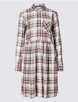 Checked Long Sleeve Drop Waist Dress by Marks & Spencer