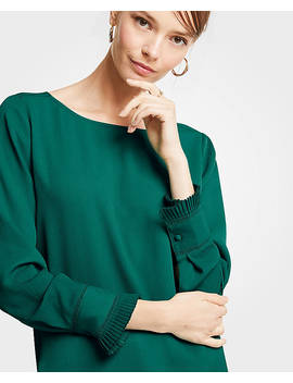 Petite Pleated Cuff Boatneck Blouse by Ann Taylor